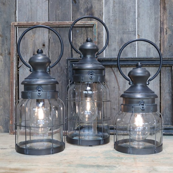 Lanterne Fransk stald inkl. pære & timer H41 - Chic Antique