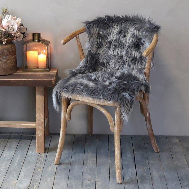 Imiteret skind Mørk grå - Chic Antique